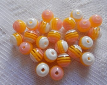 25  Golden Yellow Pink & White Striped Round Acrylic Resin Beads  8mm
