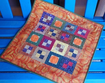 Handmade Quilted Table Topper Cotton Pumpkin Patch