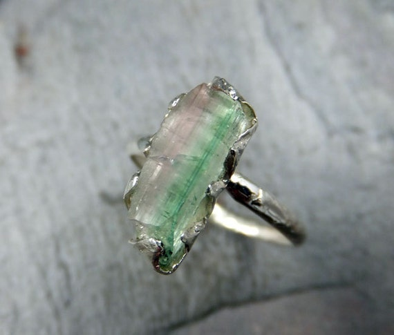 Raw Rough Uncut Watermelon Tourmaline Bi Color Ring Heart green Pink Gemstone Crystal Sterling Silver recycled size 6