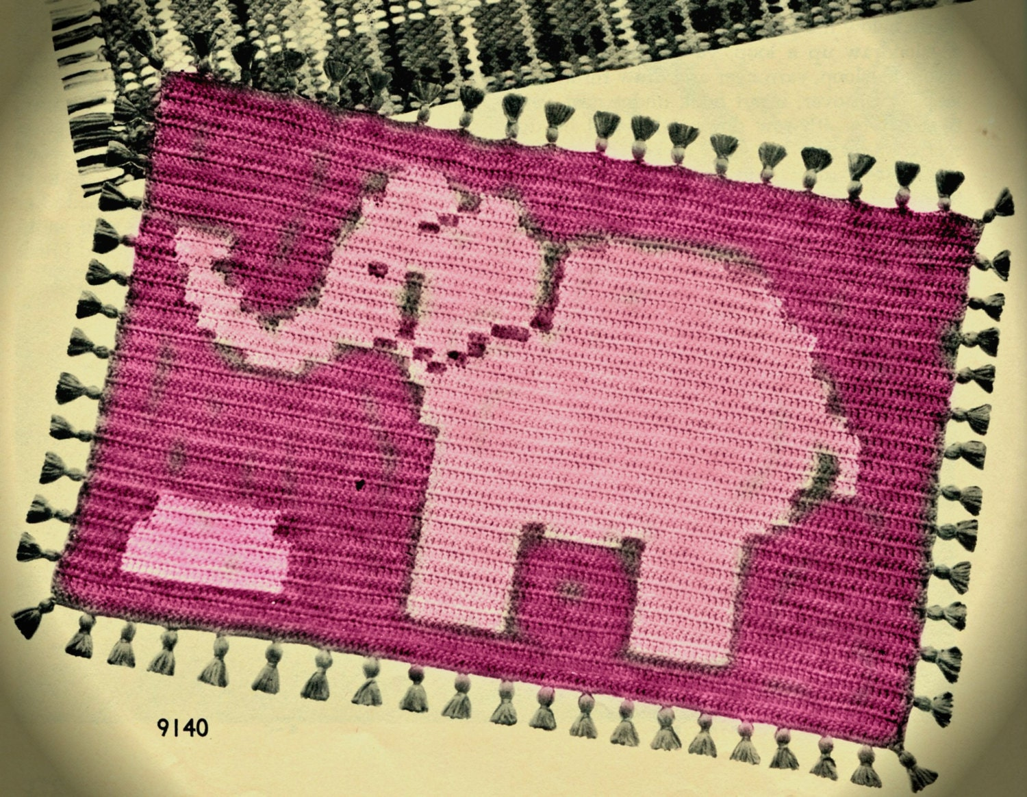 Pink Elephant Crochet Rug Pattern by PearlShoreCat on Etsy