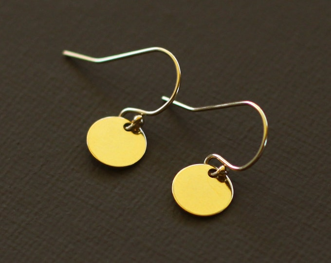 Tiny Gold Disc Earrings - Simple Everyday Earrings