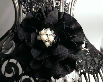 Black headband, black lace headband with beautiful black flower, black hair flower, girls black headband, black hair accessory