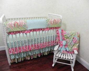 Custom Crib Bedding Set Jolie - Girl Baby Bedding, Kumari Gardens Bumperless Crib Bedding with Rail Guard and Tiered Ruffled Crib Skirt