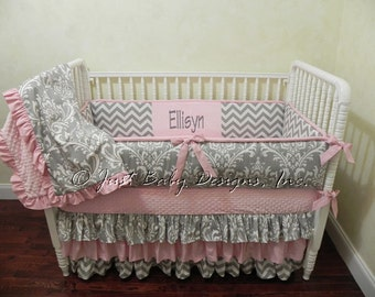 Custom Baby Girl Bedding Set Ellisyn - Girl Crib Bedding, Pink and Gray Crib Bedding, Ruffle Crib Bedding