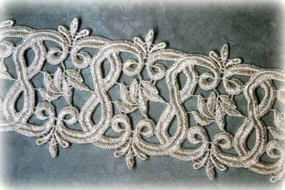 Ivory Lace Trim, Venice Lace Trim for Appliques, Altered Art, Costumes, Lace Jewelry, Headbands, Sashes, Sewing, Crafts GL-105