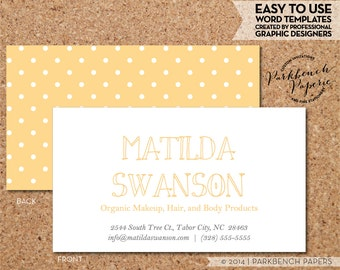 Business Card Template - Butter Yellow and White Dots -  DIY Editable Word Template, Instant Download, Printable