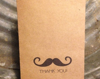 Set of 10 Kraft Stock Thank You Cards or Notes - Mustache Thank You with envelopes, modern typography