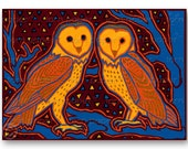 """Pair of BARN OWLS - """"The Wonders of Nature"""" Collection - Love - Wedding - Engagement - Valentine5""""x7""""  Collage Art Card (CVAL2013004)"""