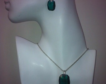 Swarovski Emerald Pendant on Sterling Silver Chain