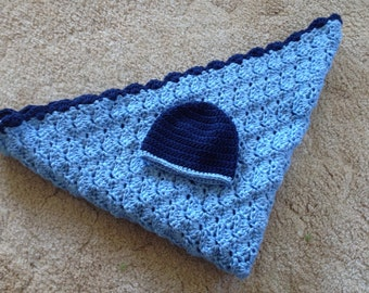 Crocheted Baby Blanket-Blues