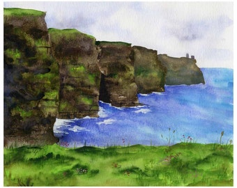 Cliffs of Moher - LARGE 13x19 Watercolor Fine Art Print - Ireland Landscape
