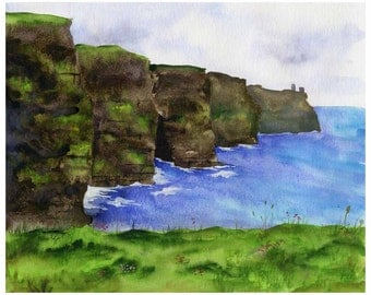 Ireland Painting - Cliffs of Moher - Watercolor Fine Art Print - Ireland Landscape
