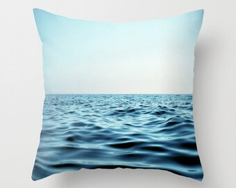 Pillow Cover Aqua Blue Seascape Nautical Throw Pillow