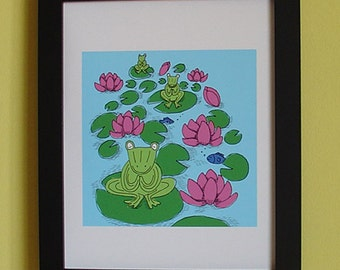 Original Illustration of print, Frogs Pray for Peace