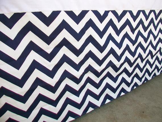 navy blue zigzag chevron crib skirt by sewwhatgrandma
