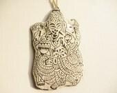Large Ganesh ornament, Boho ornament, Ganesh hand printed black & white eco chic fabric ornament, handmade block printed deity ornament