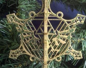3D Green Hyrule Snowflake Legend of Zelda Christmas Ornament