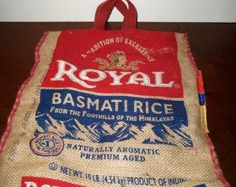Vintage Royal Basmati Rice Bag Burlap