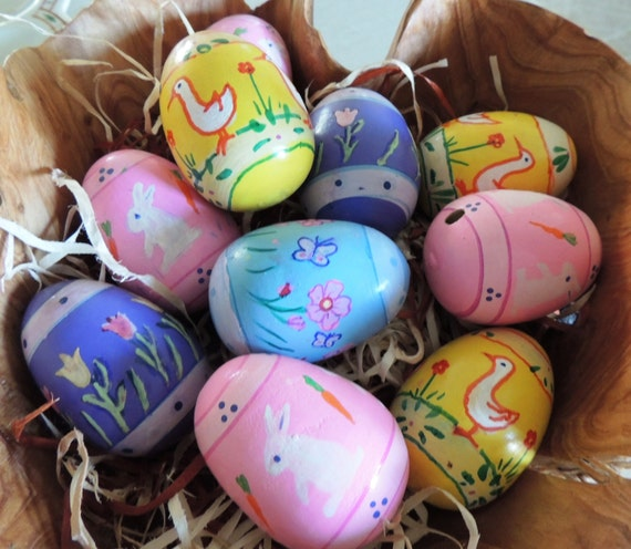 Wooden easter eggs painted bunnies ducks flowers - Painted wooden easter eggs ...
