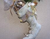 Victorian Christmas Stocking Pale Mint Sparkle Holiday Decor  Elegant Stocking Gold Sparkle Christmas Decor Mint Gold Wedding