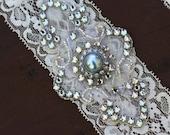 Something Blue Bridal Garter Set - Vintage Lace Garter w/Rhinestone Wedding Bridal Garters - Blue Pearl and Rhinestone Jewels - Garter Toss