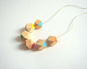 Neon Geometric Necklace ,Handpainted Wood Geometric Necklace,Geometric Jewelry