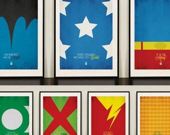 ALL 7 Justice League of America Minimalist prints