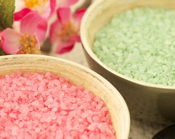 Bath Salts 5 lbs - All Natural Sea Salt Blend - Choose from 150 Scents and 20 Colors