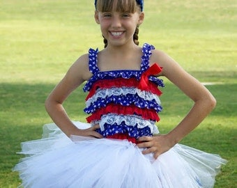 Red, white and blue star tutu