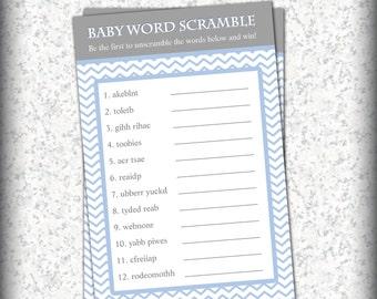 Blue Chevron Baby Shower Game - Word Scramble - Digital File