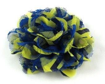 """Yellow & Royal Blue Chevron - Set of 2 Large 4"""" Chiffon Lace Flower - CLF-053"""