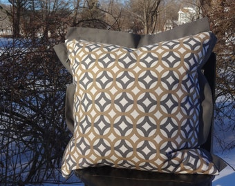 18 Inch Slate Grey, Camel Tan Circular Patterned Design with Grey Flange Trim Pillow with Insert