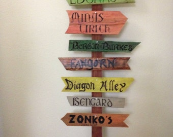 3 custom fantasy  signs no post Harry Potter Lord of the rings hunger games divergent