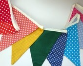 Rainbow Coloured Bunting Fabric Banner Flags, Party Decoration, Birthday Decoration, Nursery Decorations, Kindy Decoration - Ready to Ship