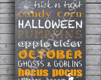Halloween Chalkboard Print