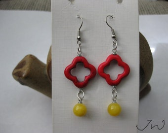 Red Turquoise Flower Stainless Steel Earrings with Yellow bead