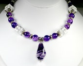Pendant Necklace-Amethyst Pendant Necklace-Amethyst Round Gemstones-Clear Crystal Quartz Gemstones-Dangle Earrings-Chunky Necklace-Purple*