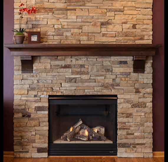 Fireplace Mantel with Corbels With Custom Crown made of Knotty