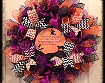 JULYSALE10-Halloween Cat, Witch and Bat Deco Mesh Wreath/Halloween Wreath/Halloween Cat Wreath/Halloween Witch Wreath