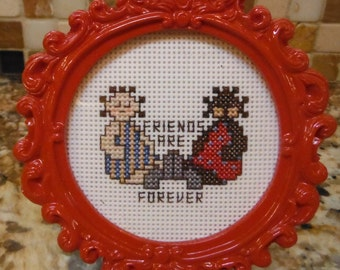 FRIENDS ARE FOREVER - Small Framed Cross Stitch Perforated Plastic Home Office Decor