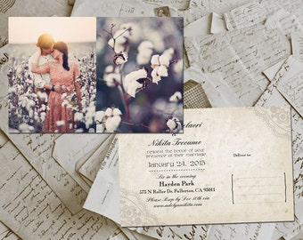 "50 Wedding Invitation PostCards - HoverBay Vintage Lace Photo Personalized 4""x6"""