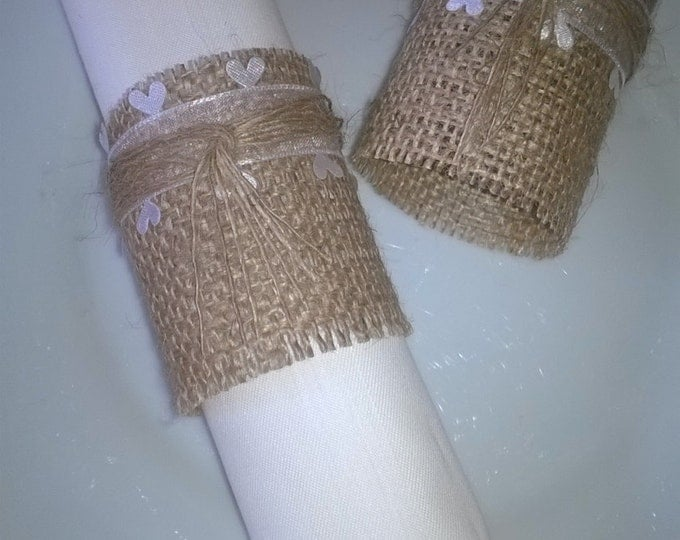 150 Burlap Wedding Napkin Rings, Hearts Ribbon , Table Decor,Made to Order