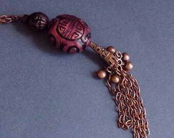 Long Necklace, Copper Colour,  Pendant, Chain with Fringe