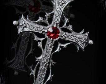 Handmade Medieval gothic cross pendant, the Mahalia's cross