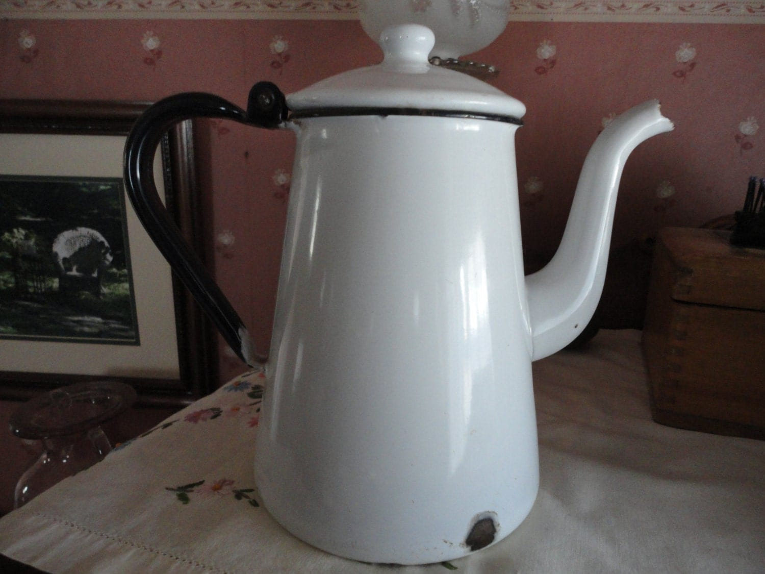 Enamel Ware Black White Lidded Coffee Tea Pot
