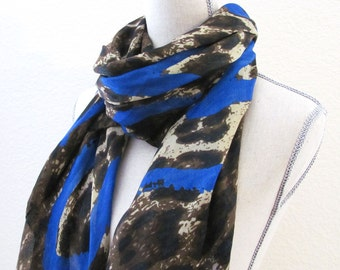 Animal Print Scarf Brown Black Blue Hearts Large Fashion Scarf