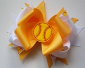 Red Orange Yellow or Blue Softball Hair Bow with Felt Softball Center - ransomletterhandmade