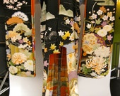 Astonishing 1940s Traditional Motif Silk Geisha Kimono Double Lined With Birds, Trees, and Floral Embroidery