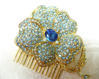 Vintage Bridal Hair Comb - goldtone - blue RHINESTONES - vintage WEDDING- something blue for the BRIDE- vintage bridal hair piece-bridesmaid