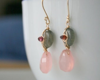 Labradorite Pink Chalcedony  Earrings with red Garnet 14Kgold filled sale